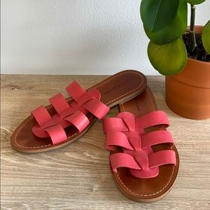 Lucky Brand Pink Leather Quality Slides/ Sandals